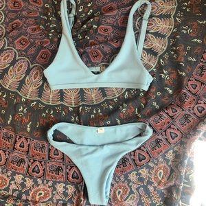 zaful light blue bikini top and bottoms.